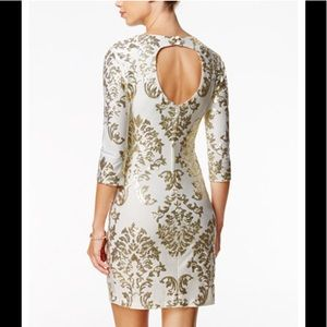 NWT Gold & Ivory White Sequined Bodycon Dress